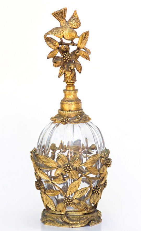 Sticlă de parfum din cristal cu alamă aurită